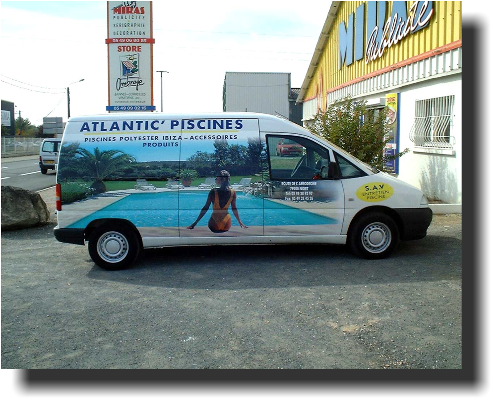 Marquage publicit voiture 79 covering v hicule for Piscine mobile sur camion